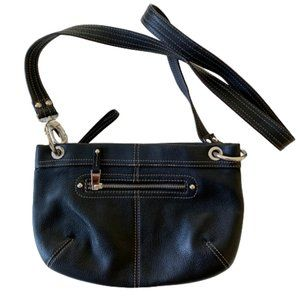 Tignanello Womens Crossbody Bag Black Leather
